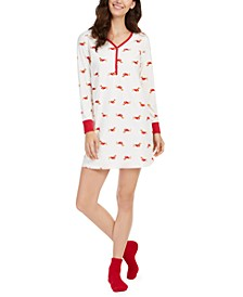 Printed Thermal Fleece Sleepshirt & Socks Set, Created for Macy's