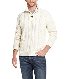 Weatherproof Vintage Men's Military Button Mock Turtleneck Sweater