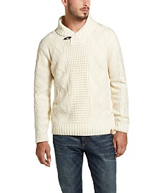 Weatherproof Vintage Men's Fisherman Toggle Shawl Neck Sweater (Ecru)