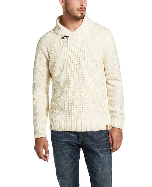 Weatherproof Vintage Men's Fisherman Toggle Shawl Neck Sweater