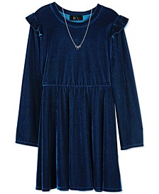 Big Girls 2-Pc. Velvet Skater Dress & Necklace Set