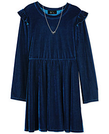 BCX Big Girls 2-Pc. Velvet Skater Dress & Necklace Set
