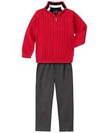 Little Boys 2-Pc. Cable-Knit 1/4-Zip Sweater & Heather Twill Pants Set