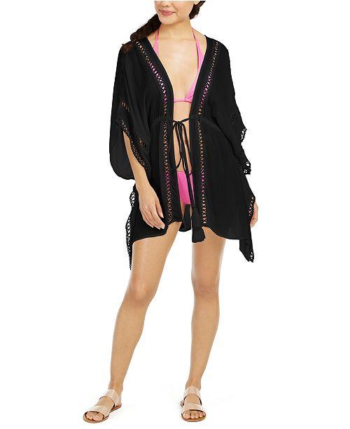 Raviya Crochet-Trim Tie-Front Kimono Cover-Up