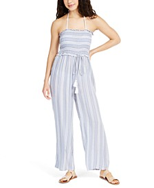 Strapless Striped Smocked Cover-Up Jumpsuit