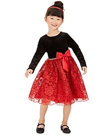 Little Girls Embellished Velvet Bow Dress