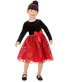Rare Editions Toddler Girls Embellished Velvet Bow Dress