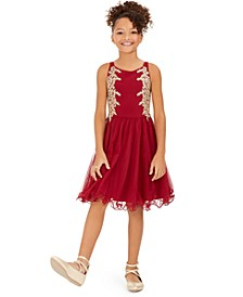 Big Girls Embellished Appliqué Dress