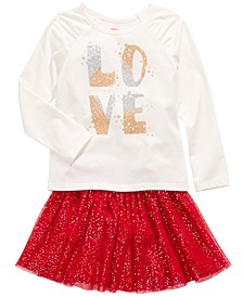 Toddler Girls Love Top & Sparkle Skirt, Created For Macy's