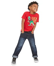 Toddler Boys Santa Rex T-Shirt & Slim-Straight Fit Jeans, Created For Macy's