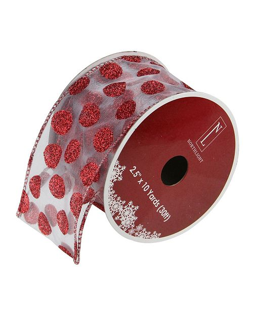 """Northlight Pack of 12 Silver and Red Glittering Polka Dots Wired Christmas Craft Ribbon Spools - 2.5"""" x 120 Yards Total"""