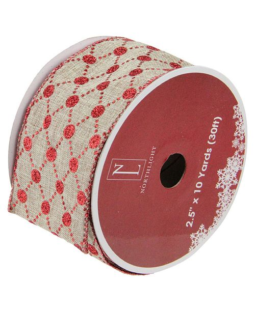 """Northlight Pack of 12 Connecting The Dots Red and White Diamond Wired Christmas Craft Ribbon Spools - 2.5"""" x 120 Yards Total"""
