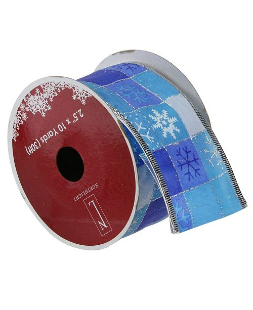 """Northlight Pack of 12 Squares of Blue Snowflake Wired Christmas Craft Ribbon Spools - 2.5"""" x 120 Yards Total"""