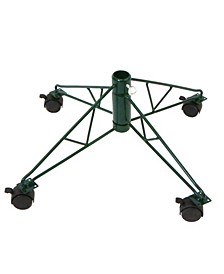 "21"" Green Rolling Metal Tree Stand For- Artificial Christmas Trees"