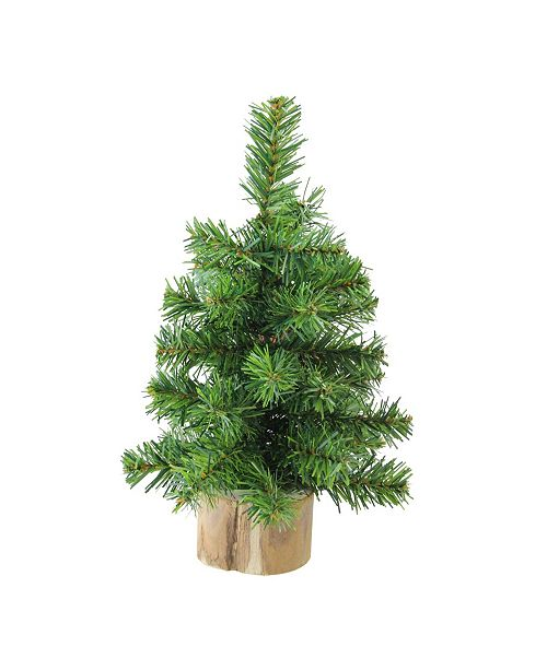 """Northlight 10"""" Alpine Artificial Christmas Tree With Wood Base Table Top Decoration - Unlit"""
