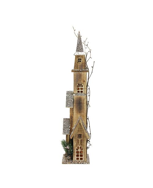 "Northlight 28"" LED Lighted Tall Rustic Brown Wooden Church Christmas Decoration"