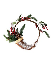 "14"" Lightly Frosted Cornucopia Artificial Christmas Wreath with Berries and Pine Cones - Unlit"