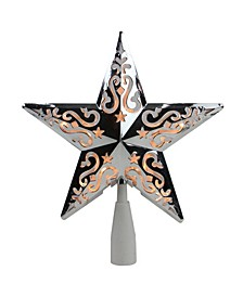 Silver-Tone Star Cut-Out Design Christmas Tree Topper - Clear Lights
