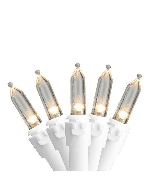 """Northlight Set of 50 Warm White LED Mini Christmas Lights 4"""" Spacing - White Wire"""