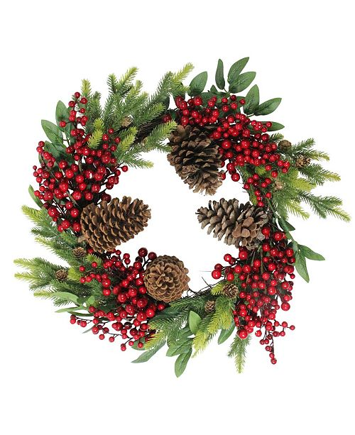 "Northlight 22"" Artificial Pine Cone Red Berry and Pine Sprig Christmas Wreath - Unlit"