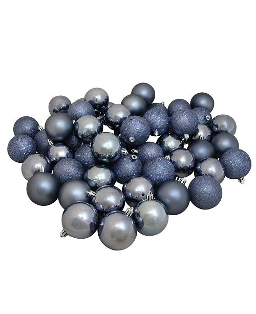 Northlight 60Ct Shatterproof Denim Blue 4-Finish Christmas Ball ornaments 60mm