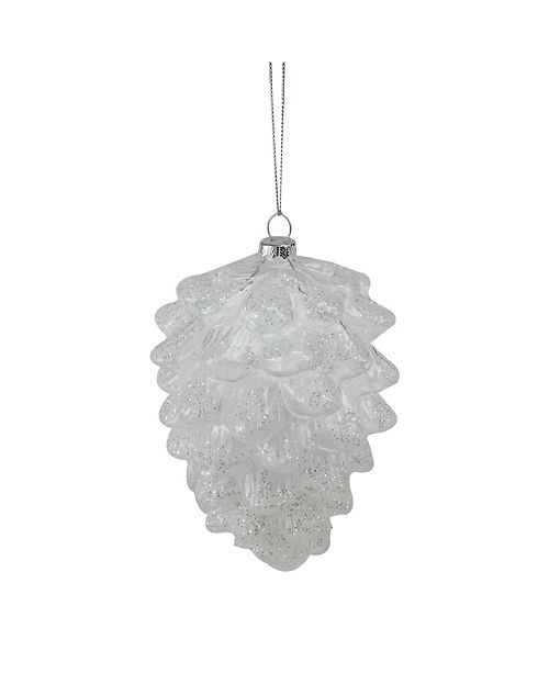 """Northlight 5"""" Clear Snow Dusted Glass Pine Cone Christmas Ornament"""