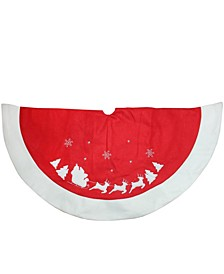 "46"" Red and White Santa Claus and Reindeer Embroidered Christmas Tree Skirt"