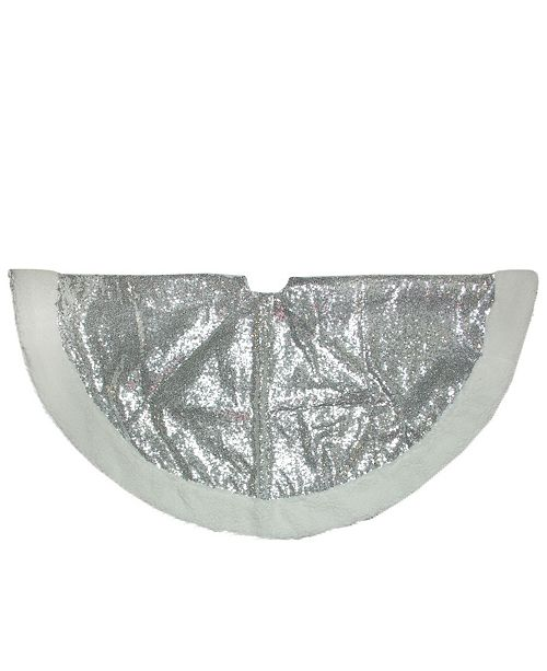 "Northlight 47.2"" Sparkling Silver and White Christmas Tree Skirt"