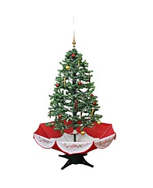 4.5' Pre-Lit Musical Snowing Artificial Christmas Tree with Umbrella Base - Blue LED Lights
