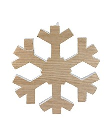 "12.5"" Wood Grain Snowflake Christmas Decoration"