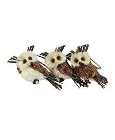 "Pack of 3 Brown Owl Sisal Christmas Ornaments 3.75"""
