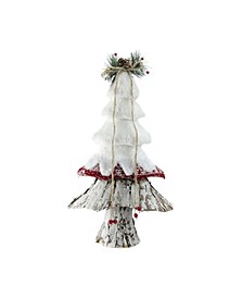 "18"" White Red and Brown Rustic Style Christmas Tree Decoration"