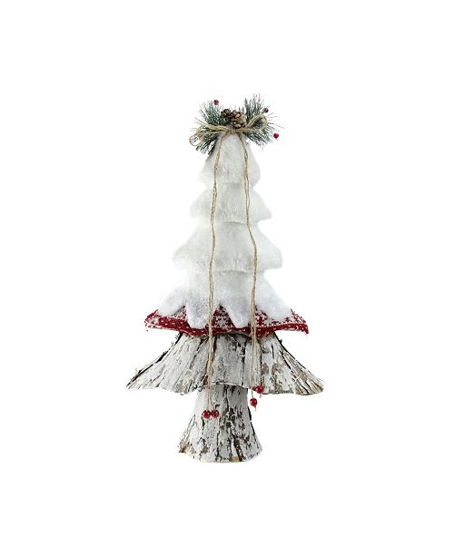 """Northlight 18"""" White Red and Brown Rustic Style Christmas Tree Decoration"""