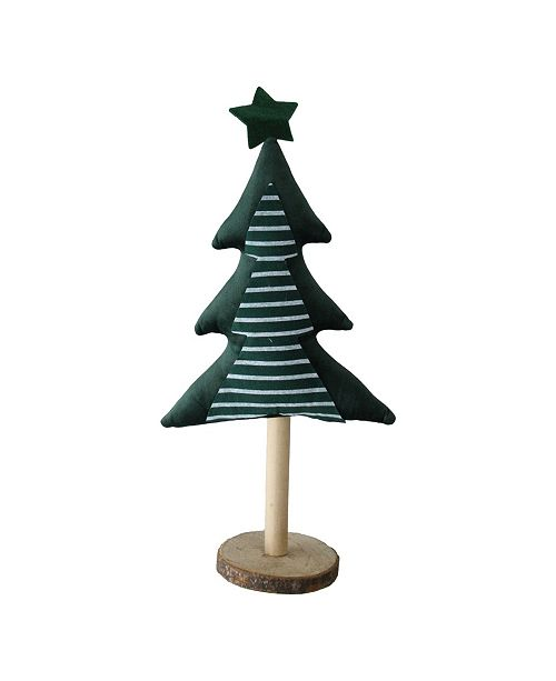 Northlight Fabric Christmas Tree with Wooden Base Tabletop Decoration
