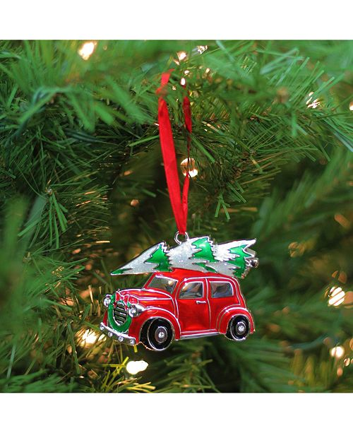 3 25 Red White And Green Silver Plated Car With Tree Wreath Christmas Ornament