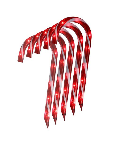 Northlight Set of 10 Lighted Outdoor Candy Cane Christmas Lawn Stakes