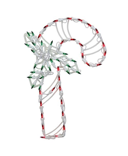 """Northlight 18"""" Lighted Candy Cane with Holly Christmas Window Silhouette Decoration"""