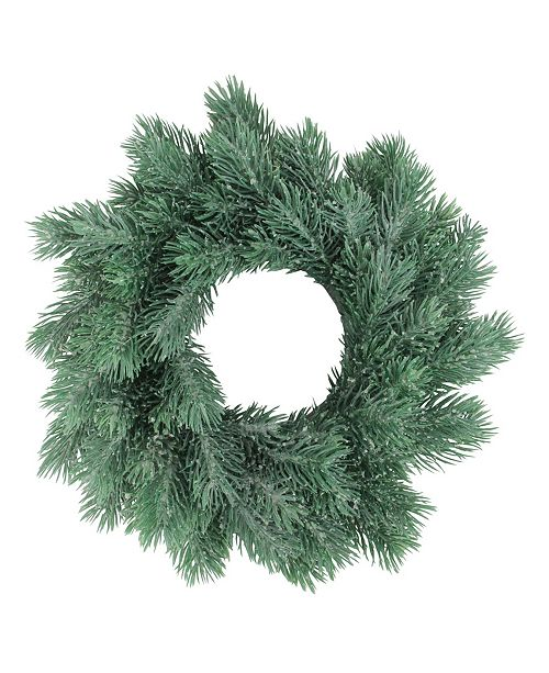 """Northlight 10"""" Traditional Frosted Green Pine Decorative Christmas Wreath"""