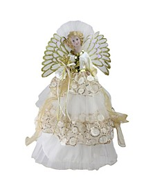 "16"" Lighted Fiber Optic Angel in Cream and Gold Sequined Gown Christmas Tree Topper"