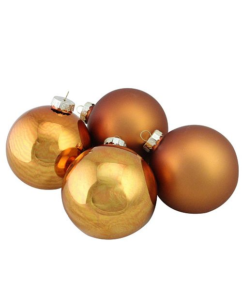 "Northlight 4-Piece Shiny and Matte Copper Glass Ball Christmas Ornament Set 4"" 100mm"
