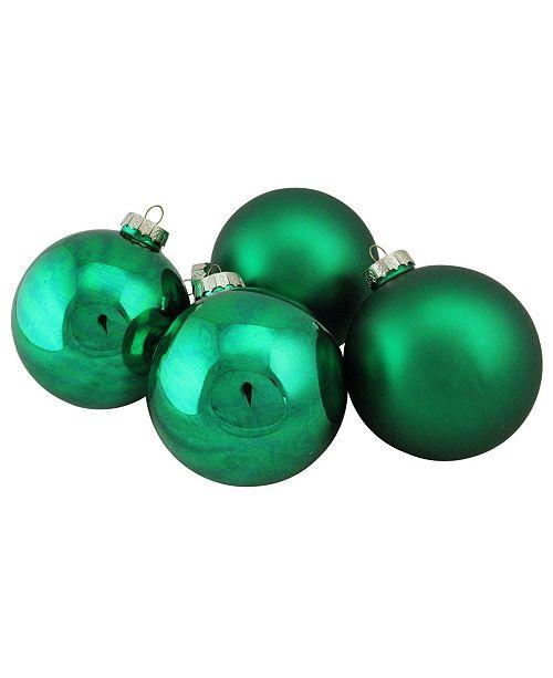 "Northlight 4-Piece Shiny and Matte Green Glass Ball Christmas Ornament Set 4"" 100mm"