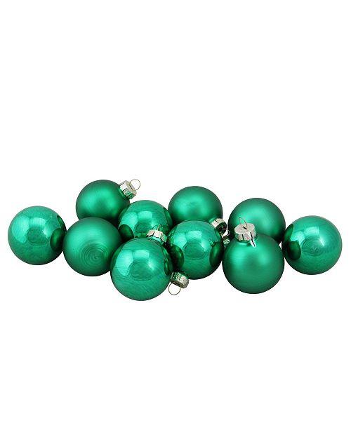 "Northlight 10-Piece Shiny and Matte Green Glass Ball Christmas ornament Set 1.5"" 45mm"