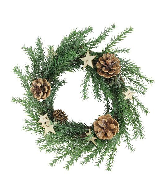 "Northlight 11"" Classic Pine with Pine Cones and Stars Christmas Wreath - Unlit"