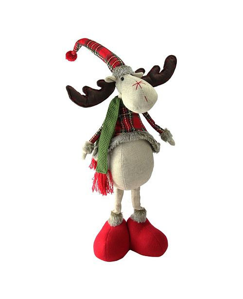 """Northlight 28.5"""" Red and Green Plaid 2 Leg Standing Deer"""