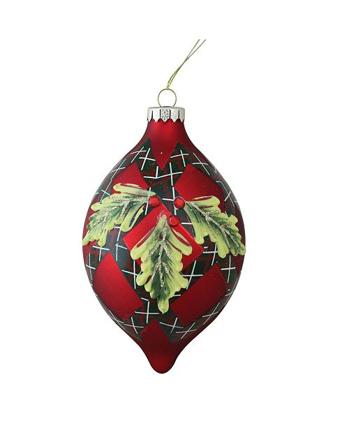 "Northlight 4.75"" 120mm Holiday Moments Geometric Plaid Mistletoe Finial Glass Christmas Ornament"