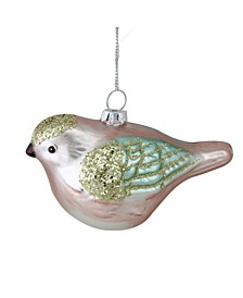 "4.5"" Nature""s Luxury Baby Pink and Turquoise Glass Bird Christmas Ornament"
