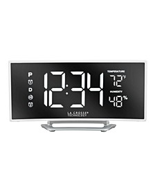 602-249 Curved Mirror LED Alarm Clock