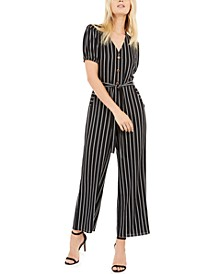 Petite Button-Front Striped Jumpsuit