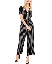 Petite Button-Front Striped Jumpsuit