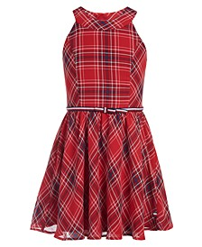 Big Girls Plaid Chiffon Dress